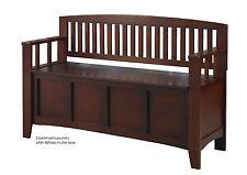 Storage Bench Walnut Finish Wooden Sitting Furniture Flip Lid Contemporary Hall