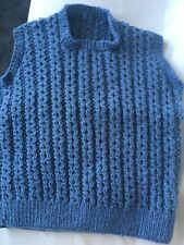 Boys Hand Knitted Blue Tank Top Pullover Age 3-6 Years Brand New
