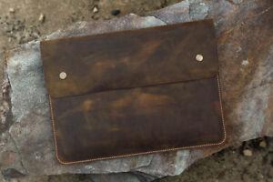 Distressed Leather macbook case sleeve portfolio for new macbook pro 13 15 inch