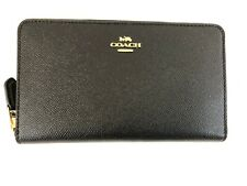 New Authentic Coach F37544 Continental Zip Around Leather Wallet Black/Gold