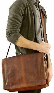 Vintage Leather Messenger Bag Laptop Bag Computer Case Shoulder Bag for Men