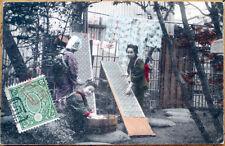 1905 Japanese Geisha Girl Postcard: Three Women Doing Laundry