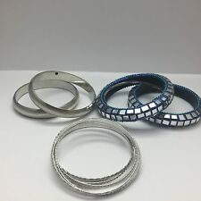 CHAMAK  BY PRIYA KAKKAR-LOT OF BANGLES - MIRROR- BLUE & SILVER - 12 BRACELETS