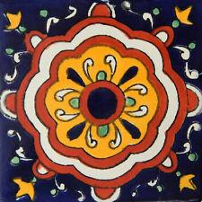"Handmade Mexican Tile Sample  Talavera Clay 4"" x 4"" Tile C175"