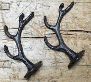 2 Cast Iron Antique Style DEER HORN Coat Hooks Hat Hook Rack Towel ELK  ANTLER