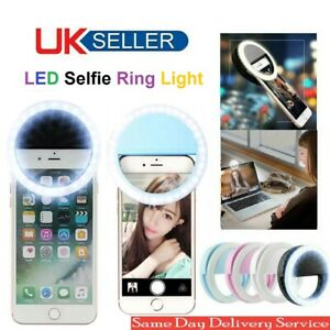Selfie LED Light Ring Flash Fill Clip Camera For iPhone Android Tablet PC