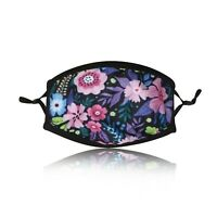 Ladies Purple Flowers Cotton Face Mask Washable Reusable Adjustable Double Layer