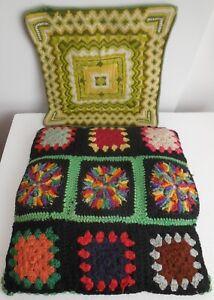 2Vintage Handmade Granny Squares Geometric Design Chair Cushion or Throw Pillows