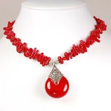 NY6DESIG Vibrant! Red Natural Coral Chip Pendant Silver Clasp Necklace &19-21""