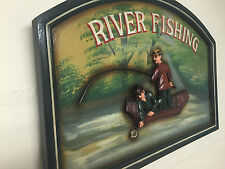 Vintage Style 3D Wooden Wall Art ~ River Fishing Fishermen in Boat Home Pub Club