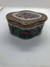 Antique 19C Chinese Hand Painted Canton Trinket Box With Lid L=7 D=6 H=5cm