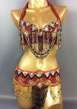 Samba Belly Dance Costume Sequin Beaded Bra Top&Belt Samba Carnival Dancing Wear