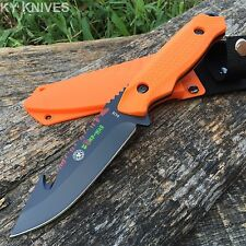 ZOMBIE WAR Tactical Orange RAMBO Hunting Knife With Sheath sharp New 8428 -F