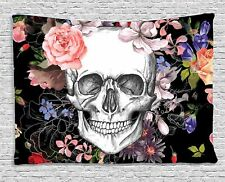 Skull Tapestry Print Fabric Wall Hanging Throw Blanket Bedspread Home Decorative
