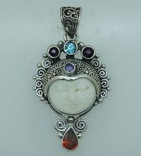 z Designer Bali Goddess Gemstone pendant (40x25 mm) in 925 Solid Sterling Silver