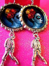 Day Of The Dead Sugar Skull With Walking Dead Zombie Dangle Charm Earrings #63