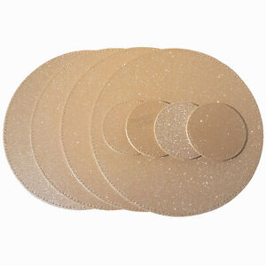 Set of 4 Faux Leather Gold Glitter Round Placemats & Coasters Bling Table Mats