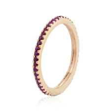 Natural Red Ruby Round 14k Yellow Gold Eternity Band Ring Jewelry Sz 7 RIMJ-398