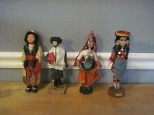 Vintage Ethnic Handmade Dolls Different Cultures Turkish Other w/ Baby Set of 4