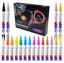 Paint Pens Set of 18 Vibrant Color Acrylic Markers Kit For Rock Painting Ceramic