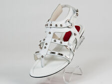 New  Cesare Paciotti White Sudded Leather Sandals Size 37  US 7