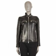 55358 auth GUCCI black leather Quilted & Lace-Up BIKER Jacket 42 M