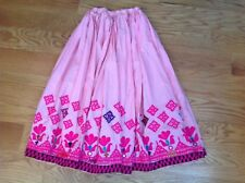 Vintage Pink Boho Skirt Embroidered Handmade India Women'S Long Maxi Indian