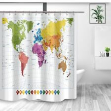 Colorful World Map Shower Curtain Kids Education Bath Curtains for Bathroom