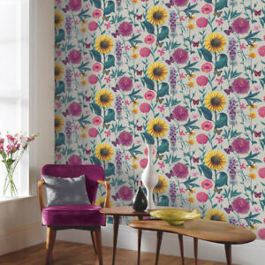 ARTHOUSE WALLPAPER 676204 SILVER FLORAL/BUTTERFLY **OUR PRICE £9.95**