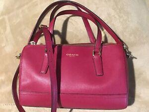 Authentic Coach Legacy Saffiano Leather Red Small Handbag EUC satchel