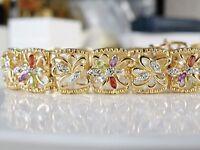 "New 18k Gold Sterling Silver Genuine Gemstone Diamond Station Bracelet 7.5"""