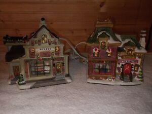 Norman Rockwell Light up Christmas Village BAKERY& SANTA'S VILLAGE FREE SHIPPING