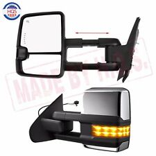 Chrome Side Towing Mirrors For 07-14 Chevy GMC Power Heated Led Signal Pair Set