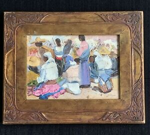J. Marquez signed original oil painting ~ Mexico ~ people gathering to watch