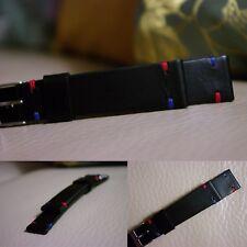 20 mm handmade Black Matte Leather watch Strap with GMT MASTER stitches