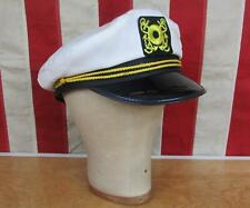 Vintage 1960s Captains Hat White Visor Cap Nautical Front Patch Boating/Sailing
