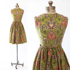 Vintage 50s silk floral PAISLEY full skirt mini dress XS
