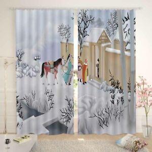 Snow Horse Cape Line 3D Curtain Blockout Photo Printing Curtains Drape Fabric