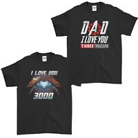 Fathers Day T-Shirt Dad I Love You 3000 Tony Stark Iron Man Endgame Mens Tee