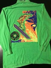 VTG 1990 OP Ocean Pacific Green Long Sleeve Winter Surf T-Shirt Mock Turtleneck