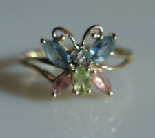 Estate Beautiful Solid 10k Butterfly Multi Gem Ring Sze 7.5 Excellent Condition