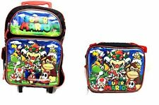 "Super Mario Large Roller Backpack 16"" inches Rolling with Lunch Bag - New w/tags"