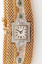Vintage 1950 $12,000 2ct Emerald Diamond Platinum 14k Gold Ladies Watch Bracelet