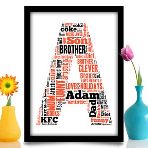Personalised Birthday gift for child LETTER INITIAL word art A4 print YOUR WORDS