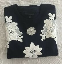 Victoria Beckham For Target Womens Floral Applique Sweater Blue Size Extra Small