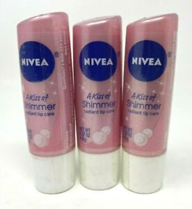 NEW (3-PACK) Nivea A Kiss of SHIMMER Pink Lip Care Balm Stick Pink FREE SHIP