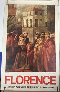 """Florence Italy Tourism Poster Vintage 1954 Masaccio Printed in Italy 39""""x24"""""""