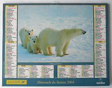 Calendrier de la POSTE - ALMANACH DU FACTEUR 2004 - Thème Animaux - GARD (30)