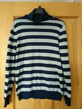 Crew Clothing Ladies Grey Blue Striped Roll Neck Jumper Size 12