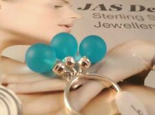 Sterling Silver Popular Blue Euroglass Ball Cocktail Ring Size 9 US R AU